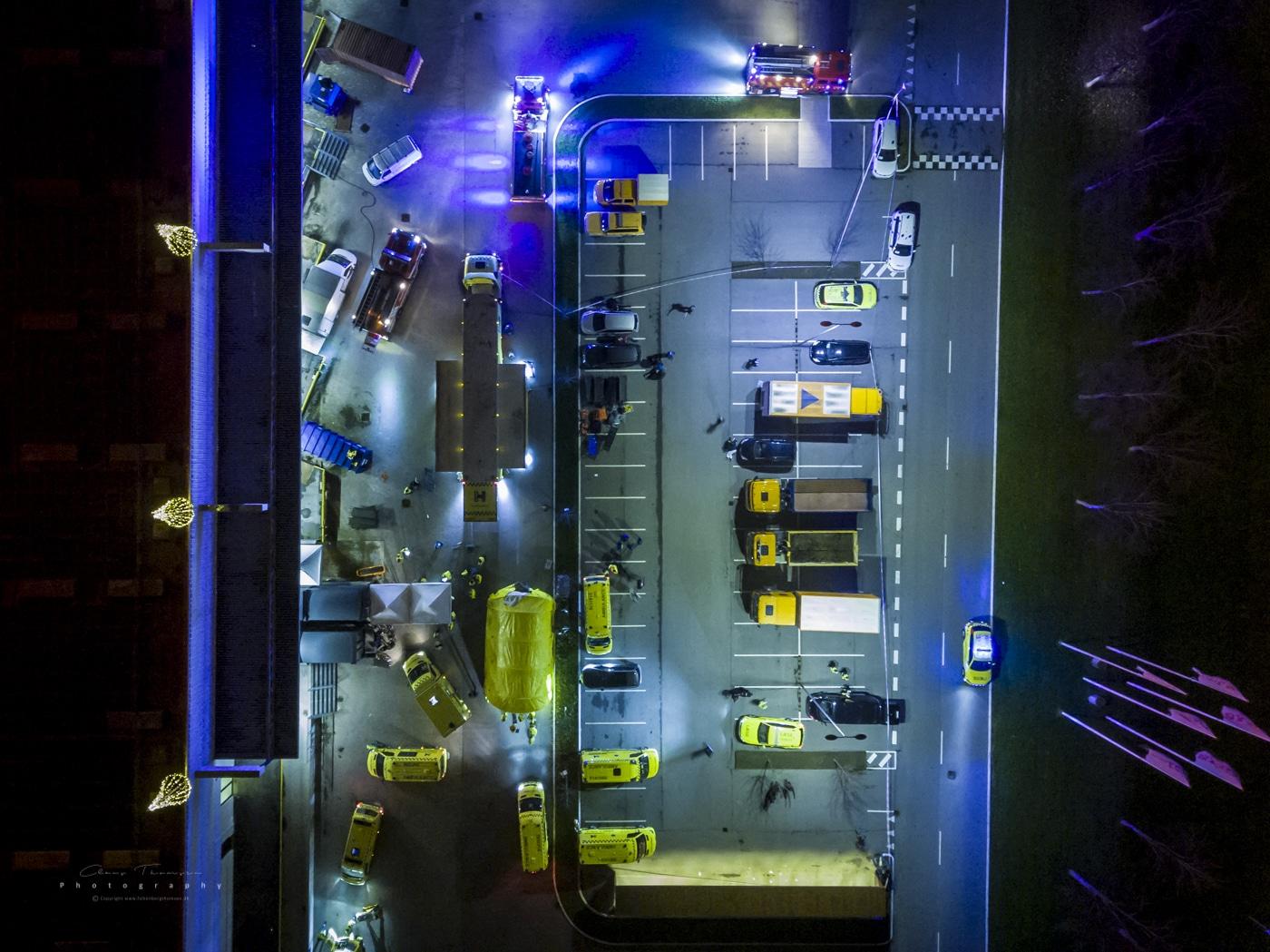 Akutberedskabets behandlingsplads udenfor City 2, hvor bl.a. akutberedskabets nye mobile behandlingsplads kan behandle op til 40 tilskadekommende ad gangen.