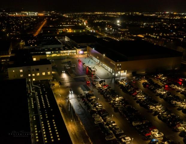 Dronefotografi af Frederiksborg Centret og Royal Stage i Hillerød