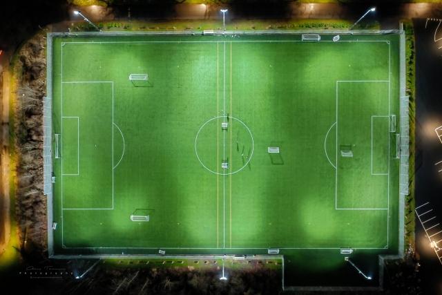 Dronefotografi af FIF boldbane