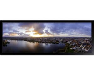 Panoramafotografi af Hillerød Centrum inklusiv Slotssøen.