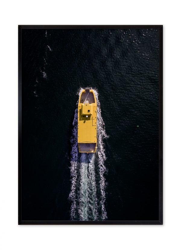 Dronefotografi af Havnebussen i Sydhavnen.