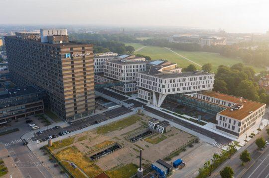 Dronefotografi af Rigshospitalet i København.