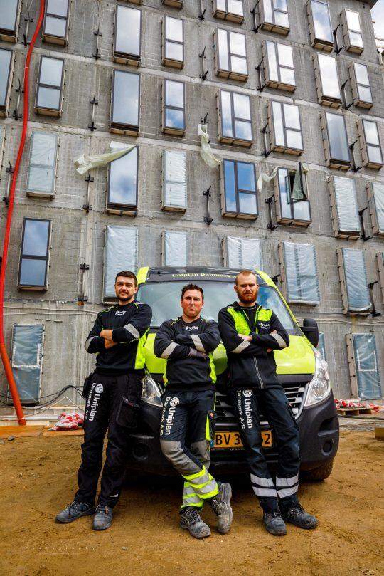 Fotografi af Uniplan Danmark A/S på byggepladsen Frederiksbro i Hillerød